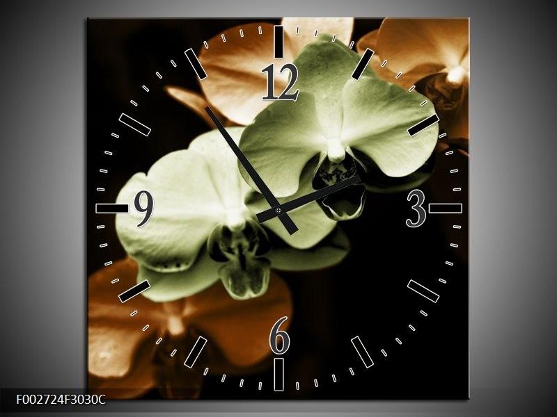 Wandklok op Canvas Orchidee | Kleur: Groen, Bruin, Zwart | F002724C