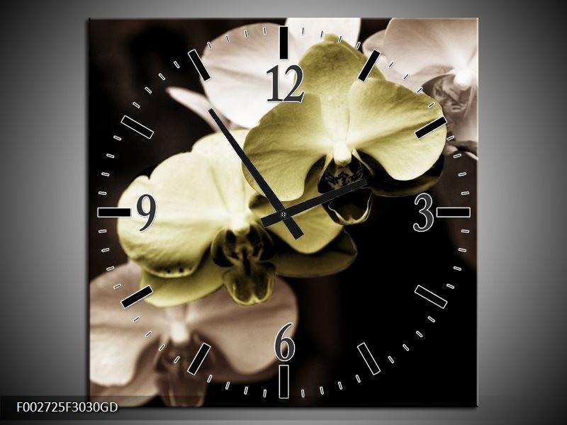 Wandklok op Glas Orchidee | Kleur: Groen, Zwart, Grijs | F002725CGD