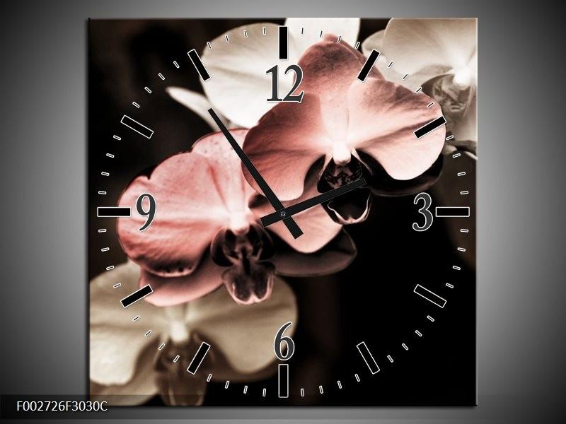 Wandklok op Canvas Orchidee | Kleur: Bruin, Zwart, Grijs | F002726C