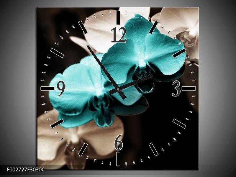 Wandklok op Canvas Orchidee | Kleur: Blauw, Zwart, Grijs | F002727C