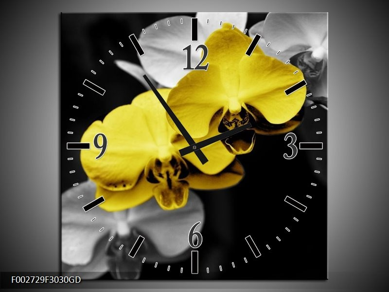 Wandklok op Glas Orchidee | Kleur: Geel, Zwart, Grijs | F002729CGD