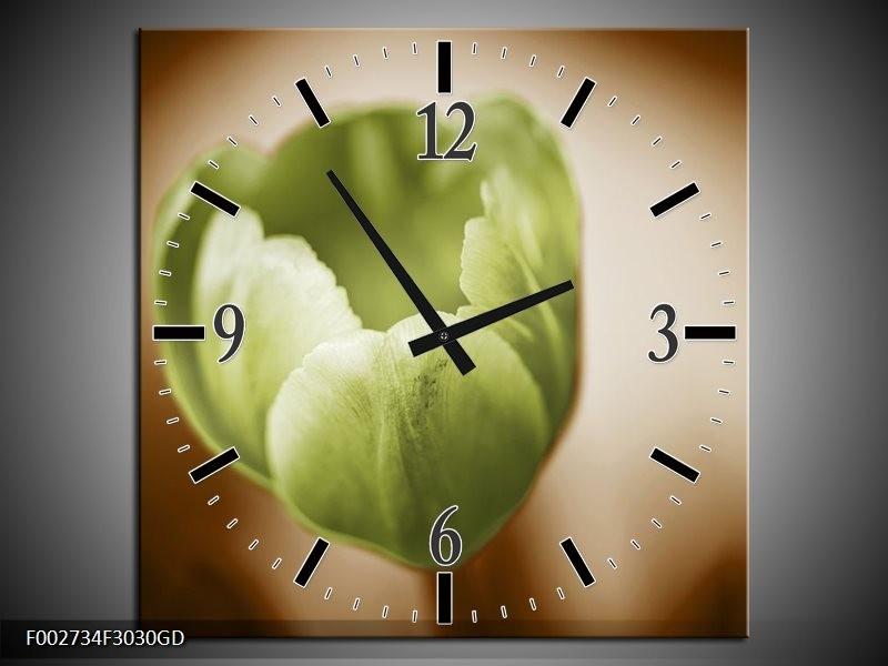 Wandklok op Glas Tulp | Kleur: Groen, Bruin, Wit | F002734CGD