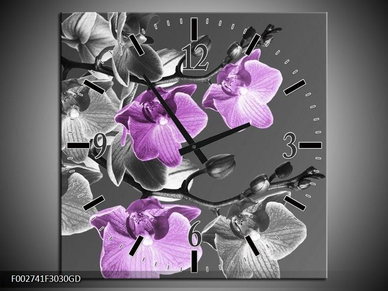 Wandklok op Glas Orchidee | Kleur: Grijs, Paars, Zwart | F002741CGD