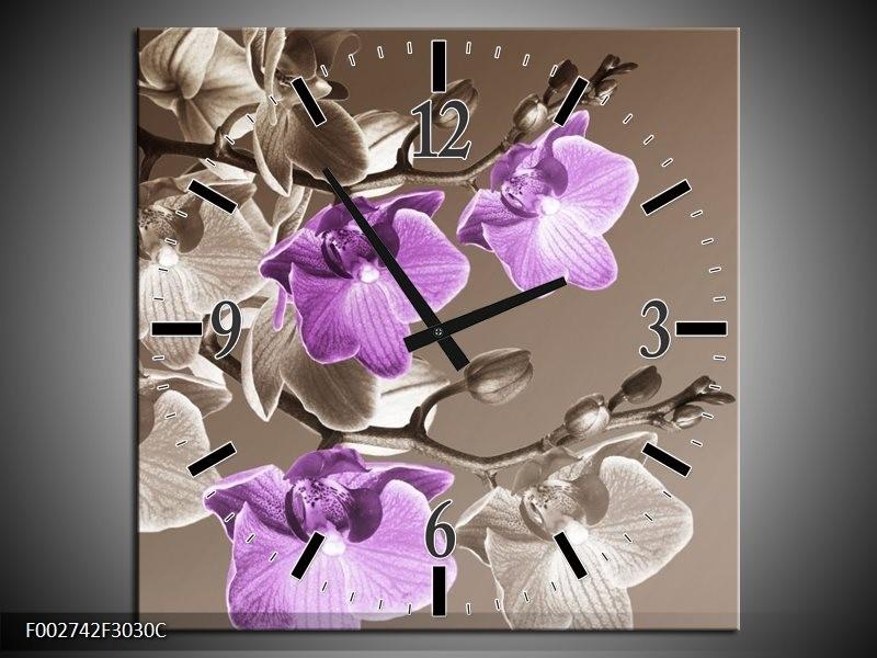 Wandklok op Canvas Orchidee | Kleur: Bruin, Paars | F002742C