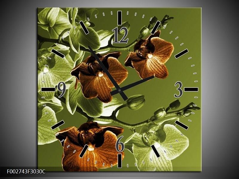 Wandklok op Canvas Orchidee | Kleur: Groen, Bruin | F002743C