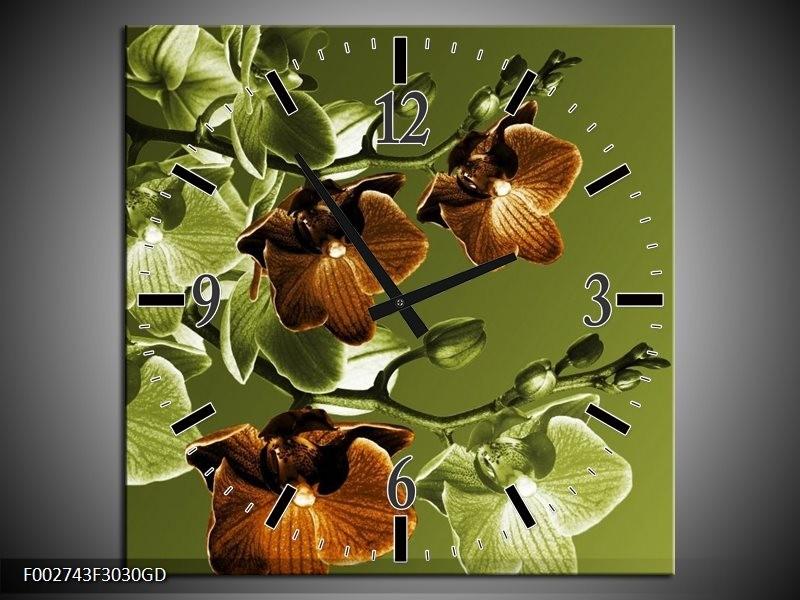 Wandklok op Glas Orchidee | Kleur: Groen, Bruin | F002743CGD