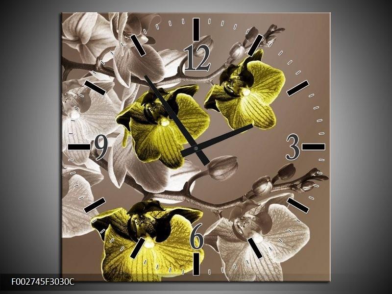 Wandklok op Canvas Orchidee | Kleur: Groen, Bruin | F002745C