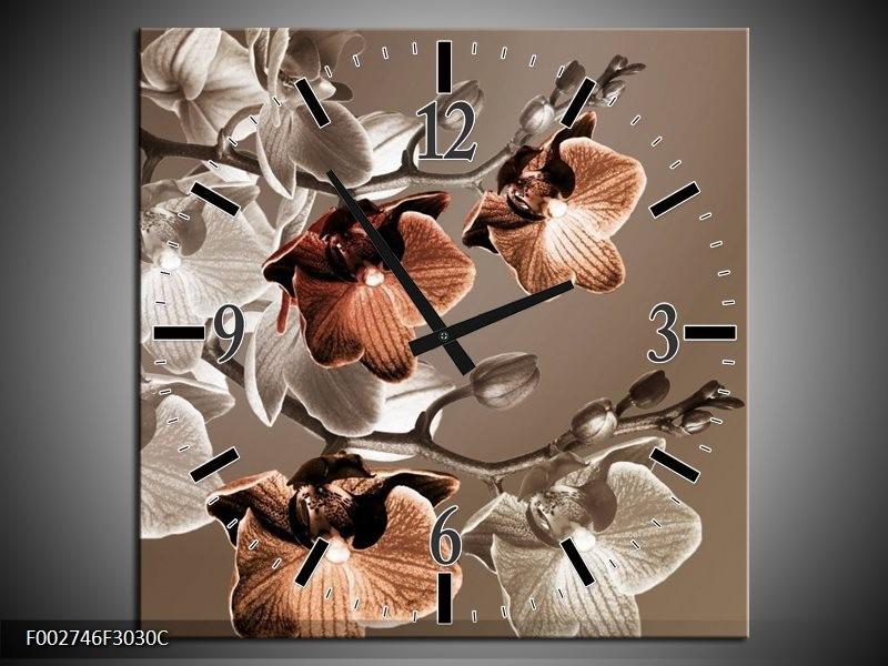 Wandklok op Canvas Orchidee | Kleur: Grijs, Bruin | F002746C
