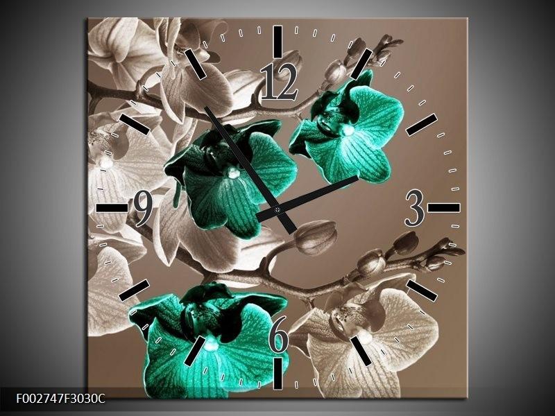 Wandklok op Canvas Orchidee | Kleur: Groen, Bruin, Grijs | F002747C
