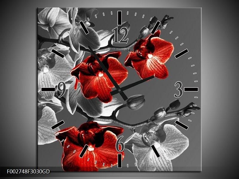 Wandklok op Glas Orchidee | Kleur: Zwart, Rood, Grijs | F002748CGD