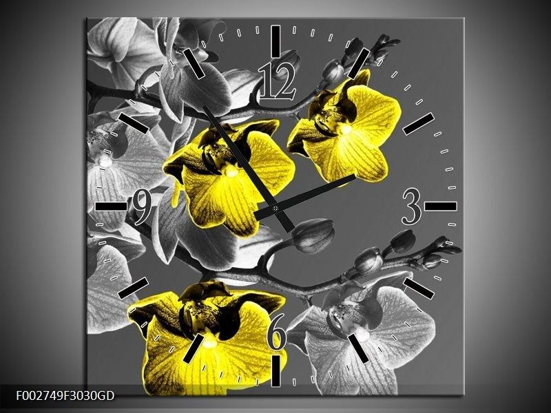 Wandklok op Glas Orchidee   Kleur: Zwart, Geel, Grijs   F002749CGD
