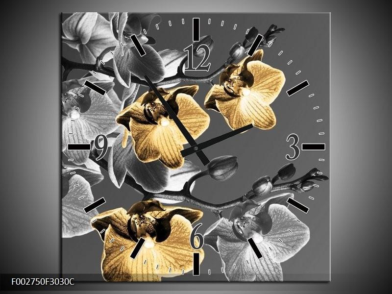Wandklok op Canvas Orchidee   Kleur: Zwart, Oranje, Grijs   F002750C