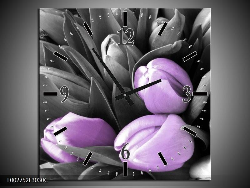 Wandklok op Canvas Orchidee | Kleur: Paars, Zwart, Grijs | F002752C