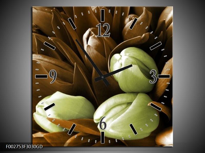 Wandklok op Glas Orchidee   Kleur: Bruin, Groen, Zwart   F002753CGD
