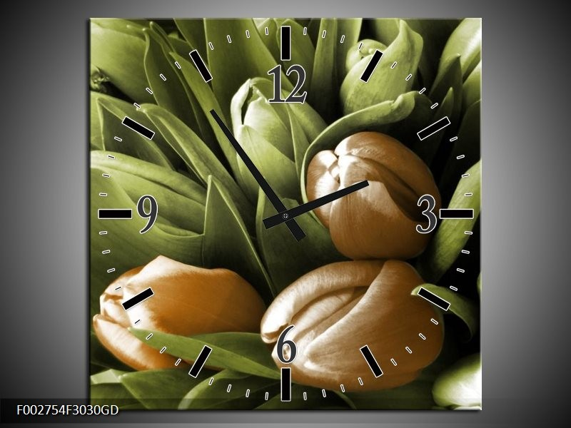 Wandklok op Glas Orchidee | Kleur: Bruin, Groen, Zwart | F002754CGD