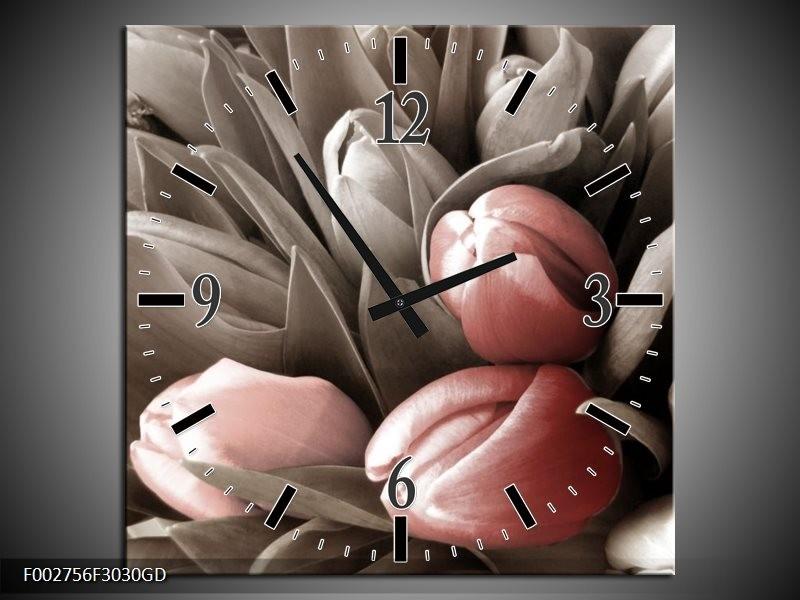 Wandklok op Glas Orchidee | Kleur: Bruin, Groen, Zwart | F002756CGD