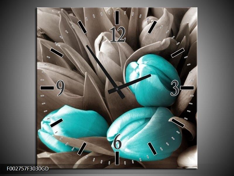 Wandklok op Glas Orchidee | Kleur: Grijs, Blauw, Zwart | F002757CGD