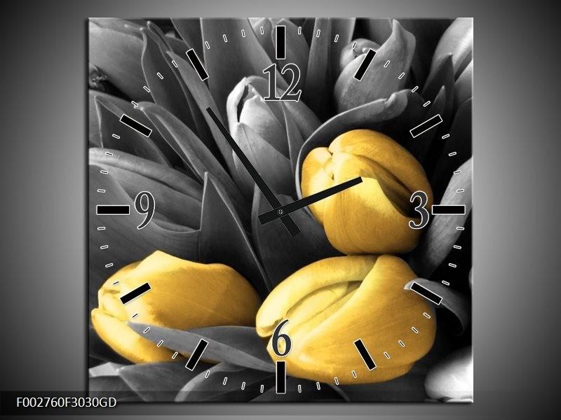 Wandklok op Glas Orchidee | Kleur: Grijs, Geel, Zwart | F002760CGD