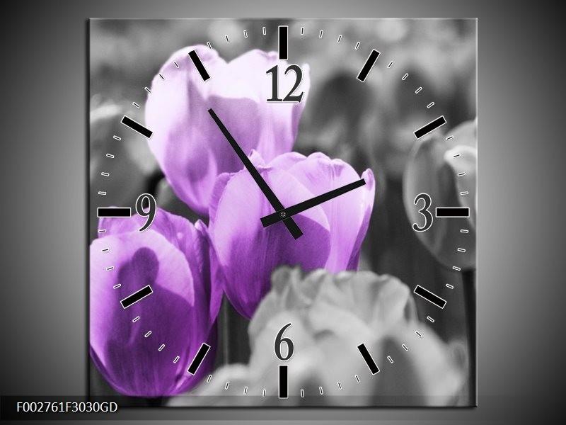 Wandklok op Glas Tulpen | Kleur: Paars, Grijs, Zwart | F002761CGD