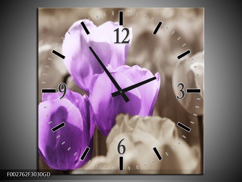 Wandklok op Glas Tulpen | Kleur: Paars, Grijs, Zwart | F002762CGD