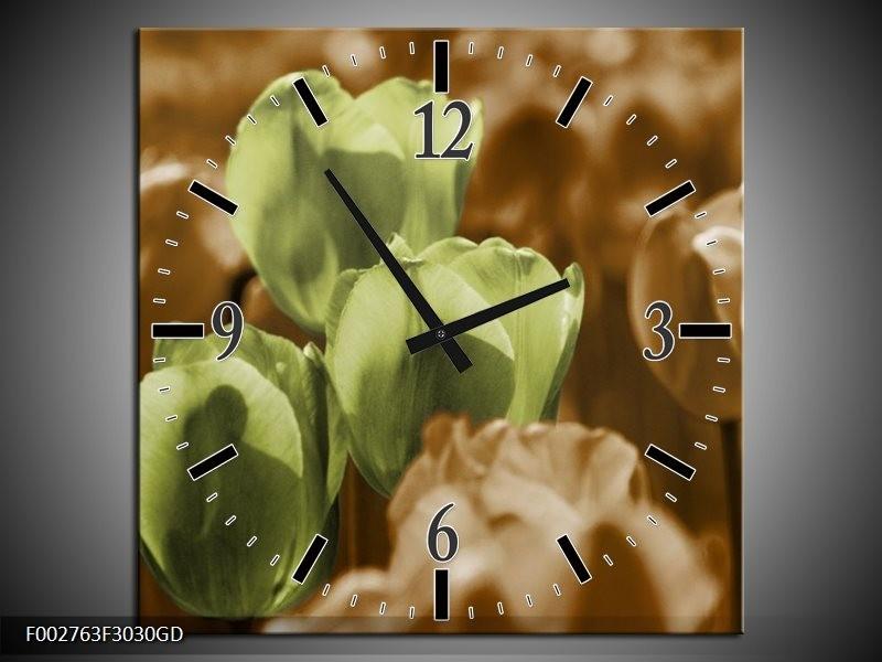 Wandklok op Glas Tulpen | Kleur: Bruin, Groen, Zwart | F002763CGD