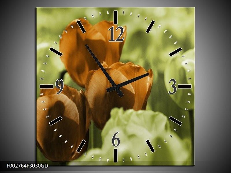 Wandklok op Glas Tulpen | Kleur: Bruin, Groen, Zwart | F002764CGD
