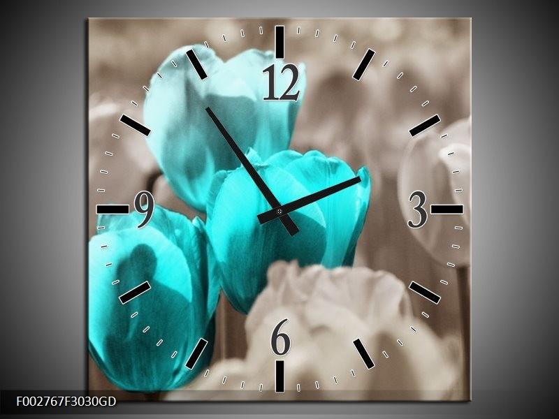 Wandklok op Glas Tulpen | Kleur: Blauw, Grijs | F002767CGD