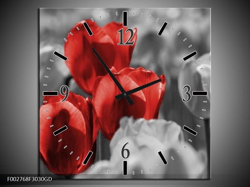 Wandklok op Glas Tulpen | Kleur: Rood, Grijs, Zwart | F002768CGD