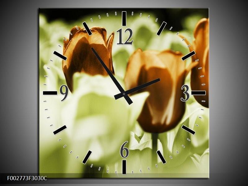 Wandklok op Canvas Tulpen | Kleur: Bruin, Groen, Wit | F002773C