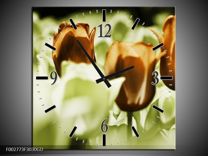 Wandklok op Glas Tulpen   Kleur: Bruin, Groen, Wit   F002773CGD