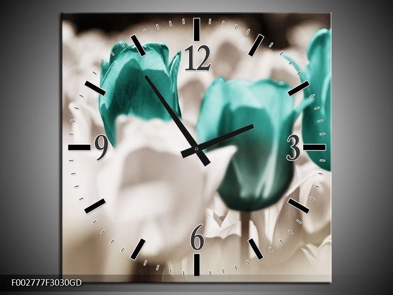 Wandklok op Glas Tulpen | Kleur: Blauw, Grijs, Wit | F002777CGD