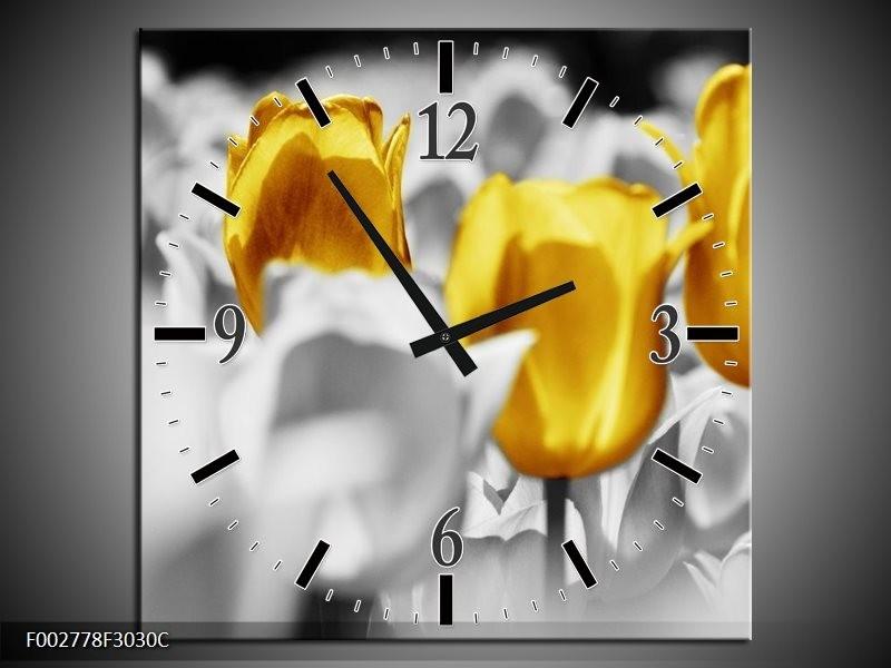 Wandklok op Canvas Tulpen   Kleur: Geel, Grijs, Wit   F002778C