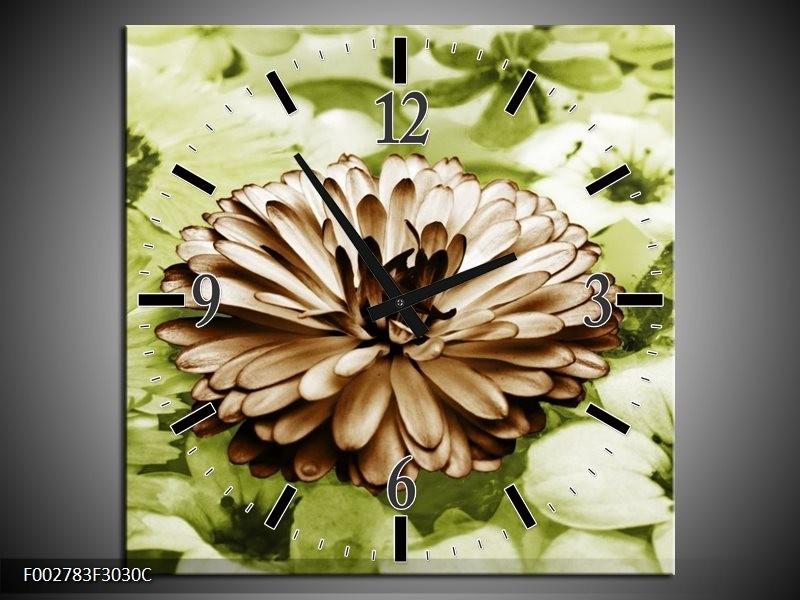 Wandklok op Canvas Bloem | Kleur: Groen, Bruin | F002783C