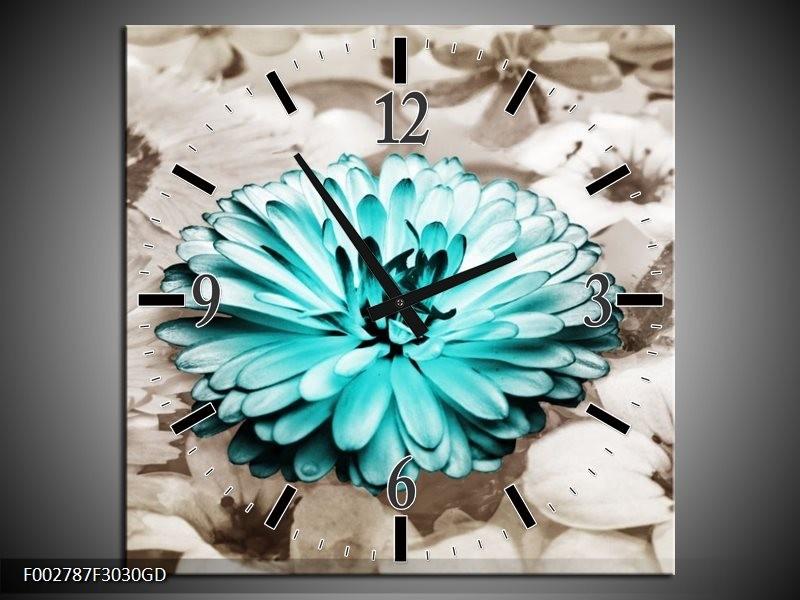 Wandklok op Glas Gerbera | Kleur: Sepia, Groen | F002787CGD