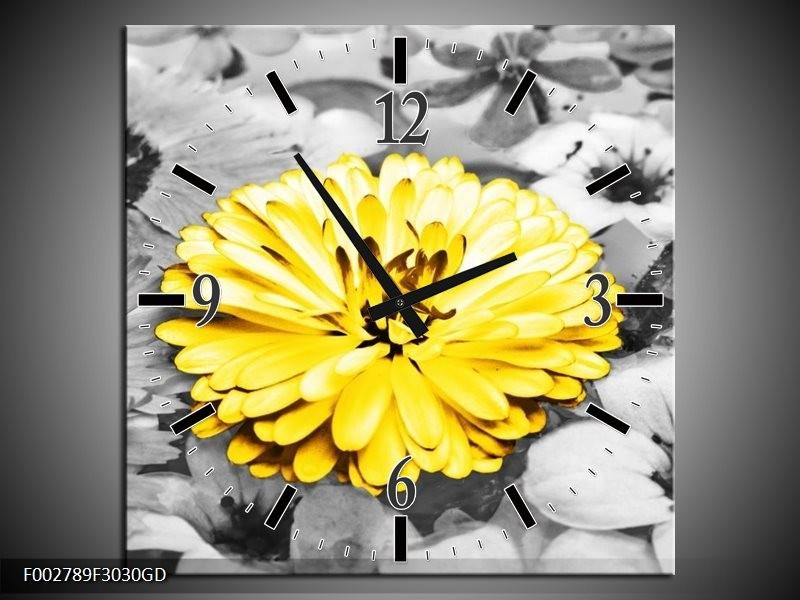 Wandklok op Glas Gerbera | Kleur: Geel, Zwart | F002789CGD
