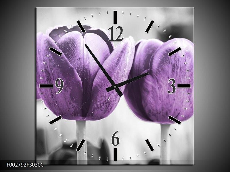 Wandklok op Canvas Tulpen | Kleur: Paars, Grijs, Wit | F002792C