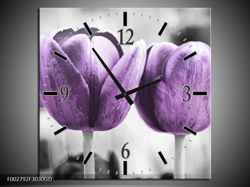 Wandklok op Glas Tulpen | Kleur: Paars, Grijs, Wit | F002792CGD