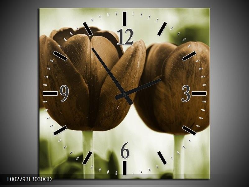 Wandklok op Glas Tulpen   Kleur: Bruin, Groen   F002793CGD