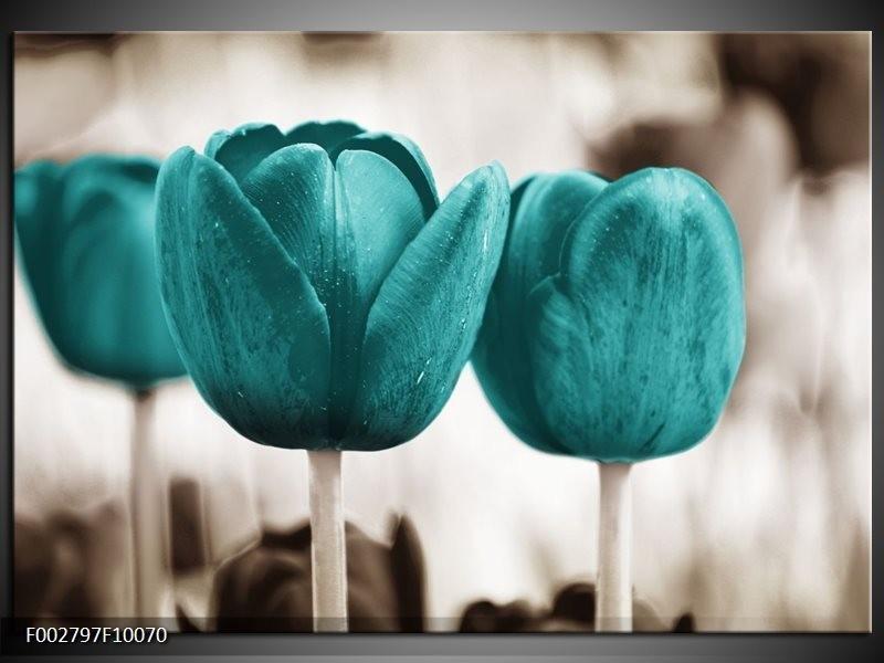Foto canvas schilderij Tulpen | Blauw, Wit, Grijs