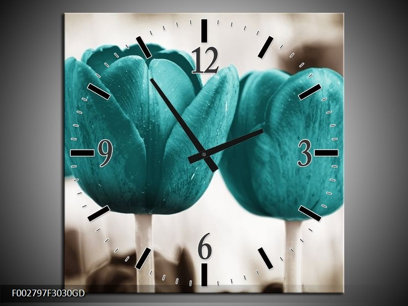 Wandklok op Glas Tulpen | Kleur: Blauw, Wit, Grijs | F002797CGD