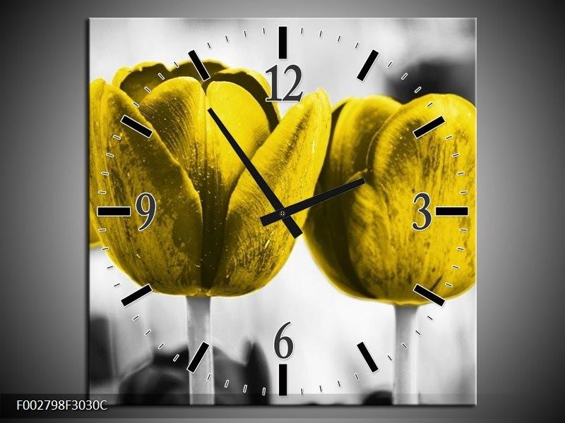 Wandklok op Canvas Tulpen | Kleur: Geel, Wit, Grijs | F002798C