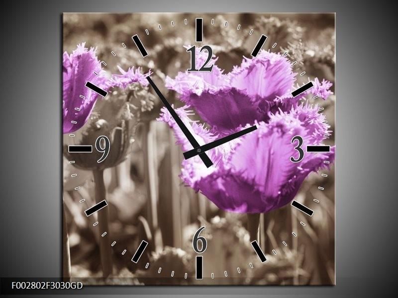 Wandklok op Glas Tulpen | Kleur: Paars, Bruin, Grijs | F002802CGD
