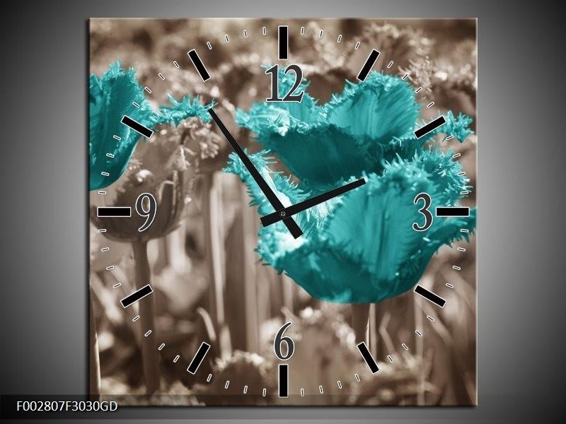 Wandklok op Glas Tulpen | Kleur: Blauw, Grijs | F002807CGD
