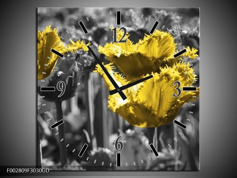 Wandklok op Glas Tulpen | Kleur: Geel, Zwart | F002809CGD