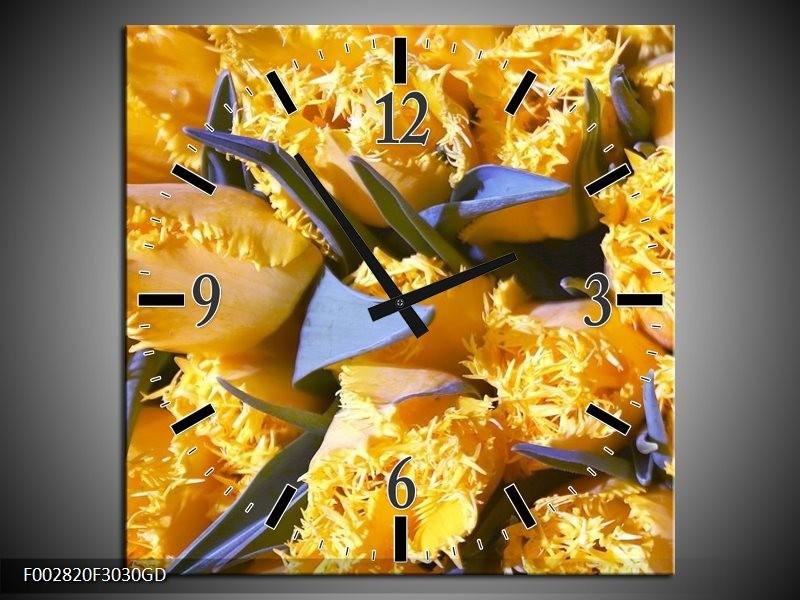 Wandklok op Glas Tulpen | Kleur: Geel, Groen | F002820CGD