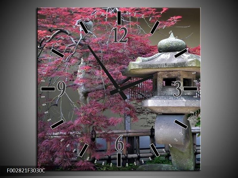 Wandklok op Canvas China | Kleur: Roze, Grijs, Groen | F002821C