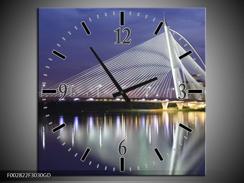 Wandklok op Glas Steden | Kleur: Grijs, Wit, Blauw | F002822CGD