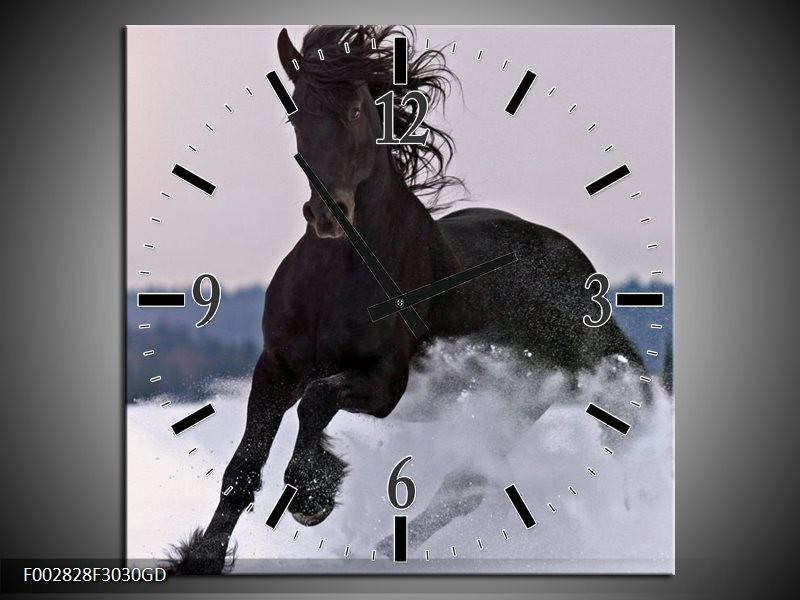 Wandklok op Glas Paard | Kleur: Wit, Zwart, Grijs | F002828CGD