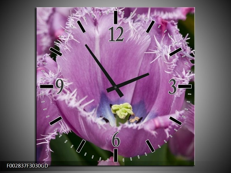 Wandklok op Glas Tulpen | Kleur: Paars, Wit, Groen | F002837CGD