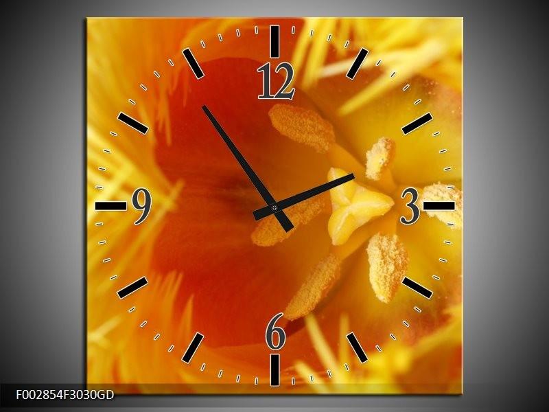 Wandklok op Glas Abstract | Kleur: Geel, Oranje, Rood | F002854CGD